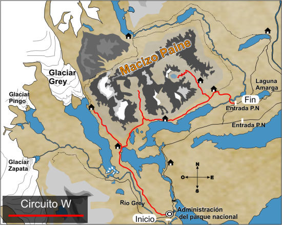 Circuito W Torres Del Paine : Map w trek torres del paine national park patagonia chile