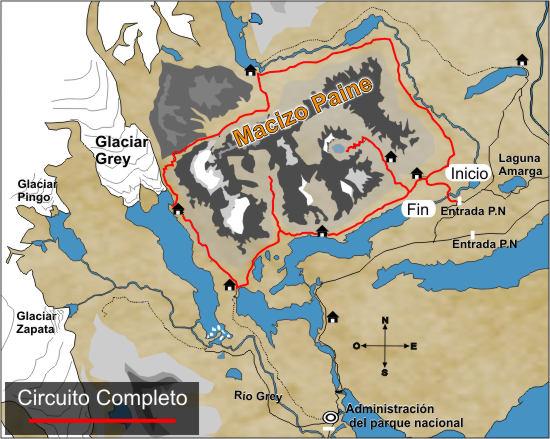 Circuito Grande : Circuito completo o grande mapa parque nacional torres del